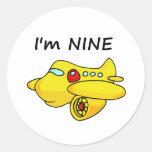 I'm Nine, Yellow Plane Round Stickers