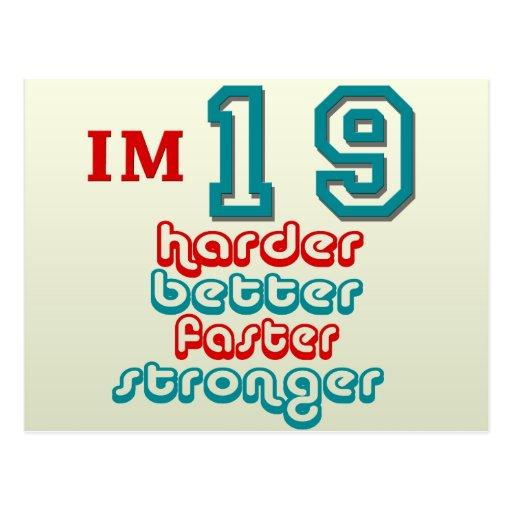 I'm Nineteen. Harder Better Faster Stronger! Birth Post Card