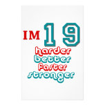 I'm Nineteen. Harder Better Faster Stronger! Birth Customized Stationery