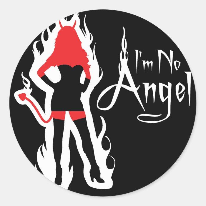 I'm no Angel Black (Flames) Stickers