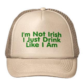 Im no irlandés apenas bebo como soy gorros bordados