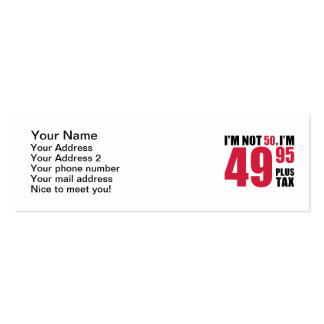 I'm not 50 years birthday business card template