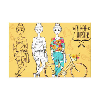 """I'm not a hipster Small (24"""" x 16"""") Canvas Stretched Canvas Prints"""
