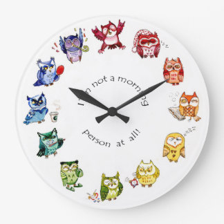 Im not a morning person - rainbow owls clocks