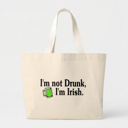 Im Not Drunk Im Irish Green Beer Mug Canvas Bags