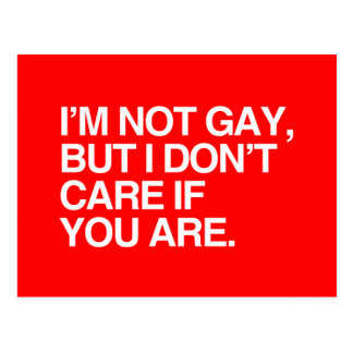 I'M NOT GAY BUT I DON'T CARE IF YOU ARE POSTCARD