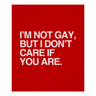 I'M NOT GAY BUT I DON'T CARE IF YOU ARE POSTERS