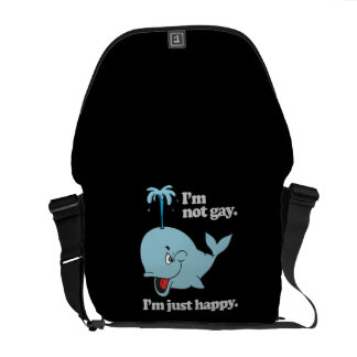 I'M NOT GAY. I'M JUST HAPPY MESSENGER BAGS