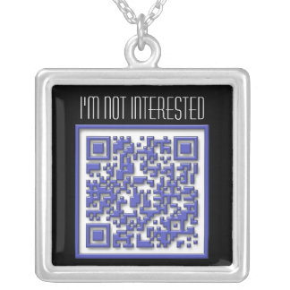 I'm Not Interested with QR Code Silver Plated Necklace