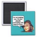 I'm Not Judging You... Retro Woman 2 Inch Square Magnet