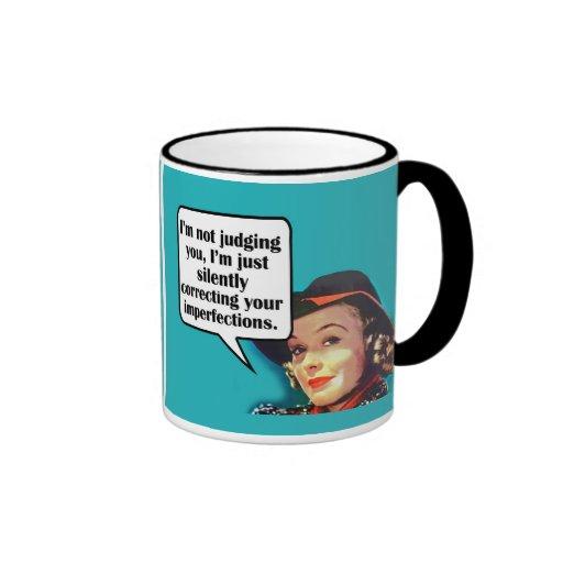 I'm Not Judging You... Retro Woman Ringer Coffee Mug
