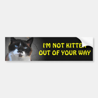 I'm Not Kitten Out of Your Way Car Bumper Sticker