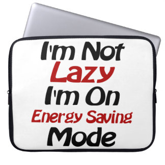 I'm Not Lazy - Funny Quote, Black and Red Laptop Computer Sleeve