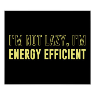 I'm Not Lazy I'm Energy Efficient Poster