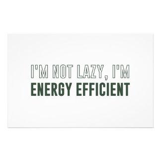 I'm Not Lazy I'm Energy Efficient Stationery Design