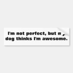 I'm Not Perfect, But My Dog Thinks I'm Awesome. Bumper Sticker at Zazzle