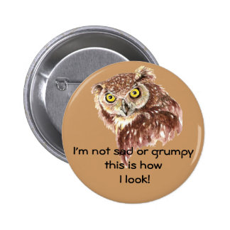 I'm not sad or grumpy this is how I look Owl Button