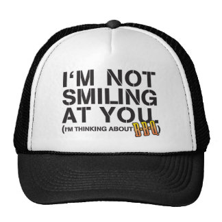 I'm not smiling at you - white print trucker hat