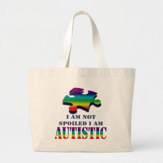 I'm not spoiled i'm autistic large tote bag