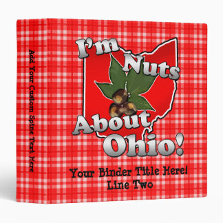 I'm Nuts About Ohio, Funny Red Buckeye Nut Binder