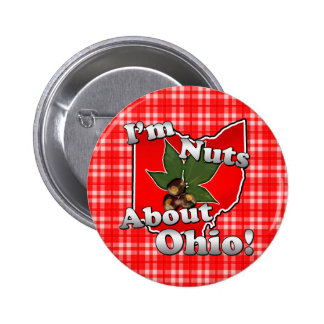 I'm Nuts About Ohio, Funny Red Buckeye Nut 2 Inch Round Button