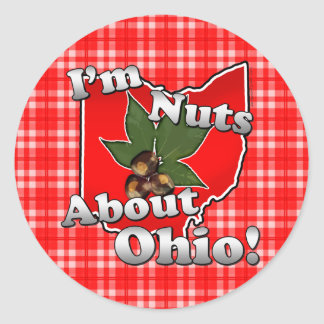 I'm Nuts About Ohio, Funny Red Buckeye Nut Classic Round Sticker