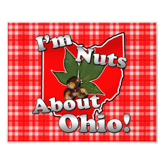 I'm Nuts About Ohio, Funny Red Buckeye Nut Photo Print