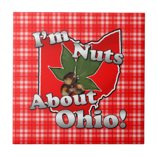 I'm Nuts About Ohio, Funny Red Buckeye Nut Small Square Tile