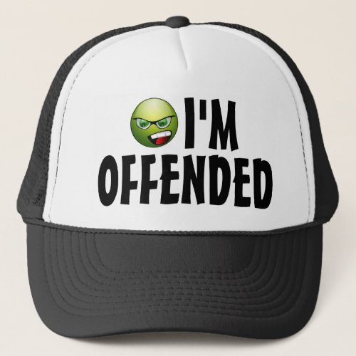 I'm Offended Angry Smiley Millennial Costume Trucker Hat