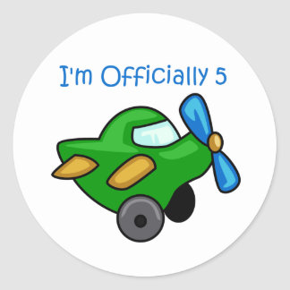 I'm Officially 5, Jet Plane Classic Round Sticker