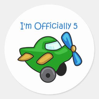 I'm Officially 5, Jet Plane Round Sticker
