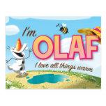 I'm Olaf, I Love All Things Warm Postcard