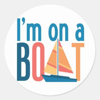 I'm on a Boat Classic Round Sticker