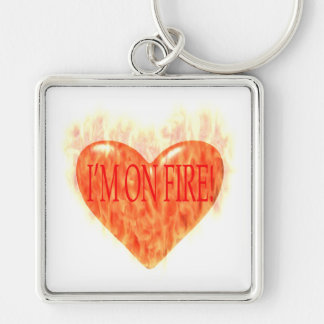 Im On Fire Silver-Colored Square Keychain