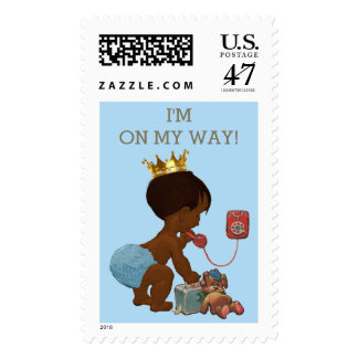 I'm on My Way Ethnic Prince on Phone Baby Shower Postage