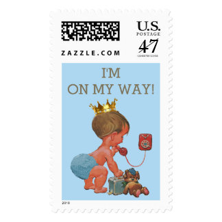 I'm on My Way Prince on Phone Baby Shower Postage