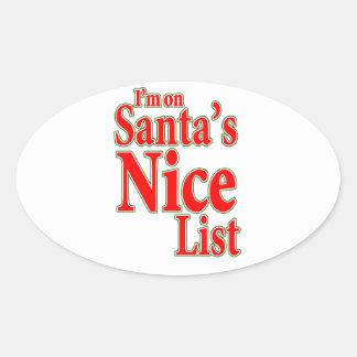 I'm on Santa's Nice List Oval Sticker