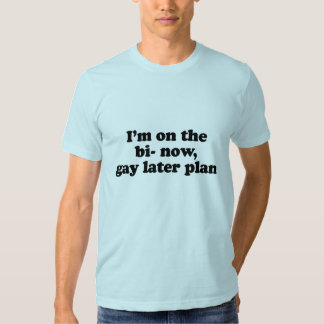 I'm on the bi now gay later plan .png t shirt