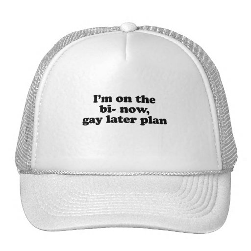 I'm on the bi now gay later plan .png trucker hat