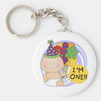 I'm ONE Birthday Tshirts and Gifts Basic Round Button Keychain