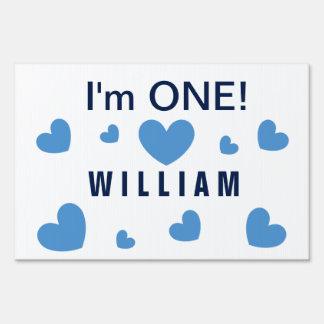 I'm ONE Cute Blue Hearts Custom Name 1 Year Old BZ Yard Sign