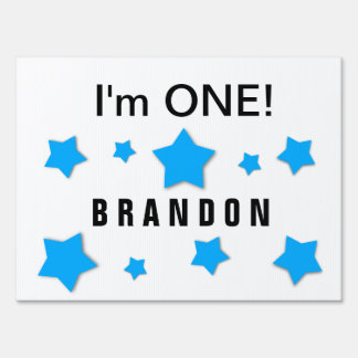 I'm ONE Cute Blue Stars Custom Name 1 Year Old A4 Sign