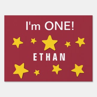 I'm ONE Cute Gold Stars Custom Name 1 Year Old A6 Lawn Sign