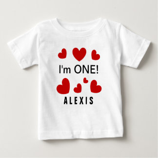 I'm ONE Cute Red Hearts Custom Name 1 Year Old V1Z Baby T-Shirt