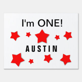 I'm ONE Cute Red Stars Custom Name 1 Year Old A3 Yard Sign