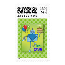 I'm ONE Cute Robot Green Postage Stamps