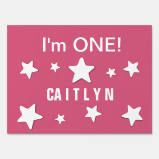 I'm ONE Cute White Stars Custom Name 1 Year Old A7 Sign