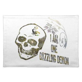 I'm One Dazzling Demon, Sparkling Skull Cloth Place Mat