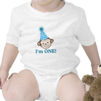 I'm ONE First Birthday Monkey Party Hat Creeper shirt