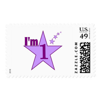 I'm one (girl 1st birthday party) postage stamps